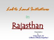 Lab to Land Initiatives in Rajasthan Presentation By