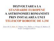 DEZVOLTAREA LA STANDARDE EUROPENE A ASTRONOMIEI ROMANESTI PRIN