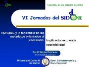 Tenerife 24 de octubre de 2002 VI Jornadas
