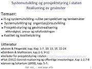 Systemutvikling og prosjektstyring i staten Realisering av gevinster