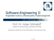 Software-Engineering II Eingebettete Systeme Softwarequalität Projektmanagement Prof Dr