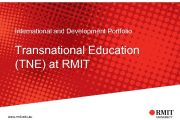 International and Development Portfolio Transnational Education TNE at
