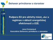 Dohovor primátorov a starostov Podpora EU pre aktivity
