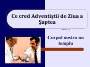 Ce cred Adventiştii de Ziua a Şaptea Studiul