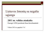 Lietuvos žmonių su negalia sąjunga 2011 m veiklos