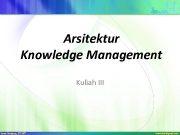 Arsitektur Knowledge Management Kuliah III Tujuan dan