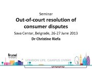 Seminar Out-of-court resolution of consumer disputes Sava Centar