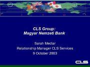 CLS Group Magyar Nemzeti Bank Sarah Medlar Relationship
