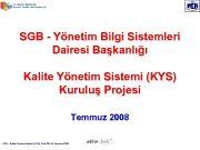 SGB — Yönetim Bilgi Sistemleri Dairesi Başkanlığı Kalite