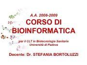 A A 2008 -2009 CORSO DI BIOINFORMATICA per