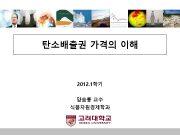 탄소배출권 가격의 이해 2012 1학기 양승룡 교수 식품자원경제학과