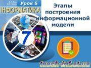 Урок 6 Этапы построения информационной модели Вопросы В