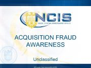 ACQUISITION FRAUD AWARENESS Unclassified CRP Acquisition Fraud Awareness UNCLASSIFIED