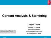 Content Analysis Stemming Yaşar Tonta Hacettepe Üniversitesi