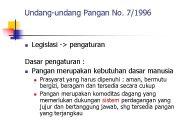 Undang-undang Pangan No 7 1996 n Legislasi — pengaturan