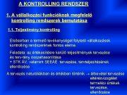 A KONTROLLING RENDSZER 1 A vállalkozási funkcióknak megfelelő