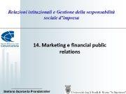 Relazioni istituzionali e Gestione della responsabilità sociale d impresa