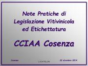 Note Pratiche di Legislazione Vitivinicola ed Etichettatura CCIAA