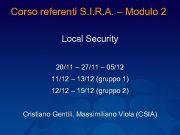 Corso referenti S I R A Modulo