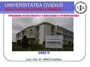 UNIVERSITATEA OVIDIUS FACULTATEA DE STIINTE ECONOMICE EVALUAREA ECONOMICA