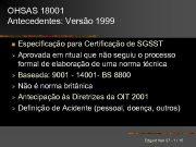 OHSAS 18001 Antecedentes Versão 1999 Especificação para Certificação