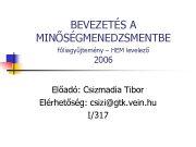 BEVEZETÉS A MINŐSÉGMENEDZSMENTBE fóliagyűjtemény HEM levelező 2006