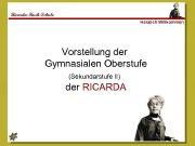 Ricarda-Huch-Schule Herzlich Willkommen Vorstellung der Gymnasialen Oberstufe Sekundarstufe