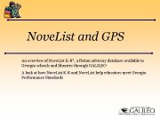 Nove List and GPS An overview of Nove