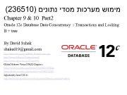 236510 מימוש מערכות מסדי נתונים Chapter 9