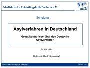 Medizinische Flüchtlingshilfe Bochum e V Schulung Asylverfahren in