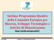 Settimo Programma Quadro della Comunità Europea per Ricerca