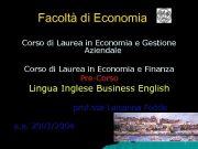 Facoltà di Economia Corso di Laurea in Economia