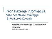 Pronalaženje informacija baze podataka i strategija njihova pretraživanja