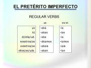 EL PRETÉRITO IMPERFECTO REGULAR VERBS -AR -ER -IR yo