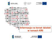 Informacja na temat działań w ramach KRI