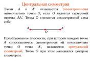 Центральная симметрия Точки А  и А'
