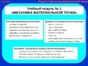 Учебный модуль № 1  «МЕХАНИКА МАТЕРИАЛЬНОЙ ТОЧКИ»