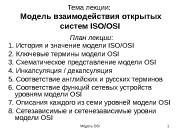 Модель OSI 1 Тема лекции:   Модель