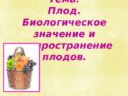 Тема: Плод.  Биологическое значение и распространение плодов.