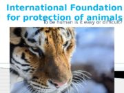 International Foundation for protection of animals To be
