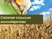 Світове сільське господарство  Сільське господарство важлива галузь