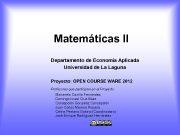 Matemáticas II Departamento de Economía Aplicada Universidad de