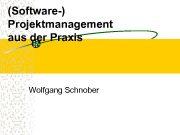 Software- Projektmanagement aus der Praxis Wolfgang Schnober