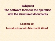 Subject  8 8 The software tools for
