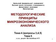 1 МЕТОДОЛОГИЧЕСКИЕ ПРИНЦИПЫ МИКРОЭКОНОМИЧЕСКОГО АНАЛИЗА Тема 4 (вопросы