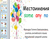 Презентация Местоимения some, any, no