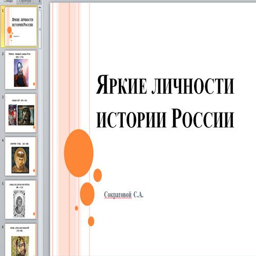 Презентация Яркие личности истории России