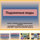 Презентация Подземные воды
