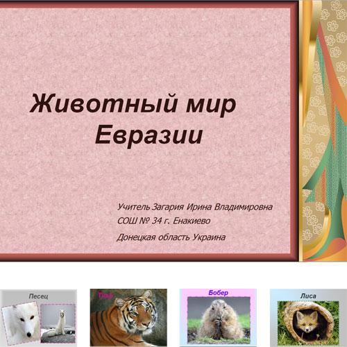 Презентация Животный мир Евразии