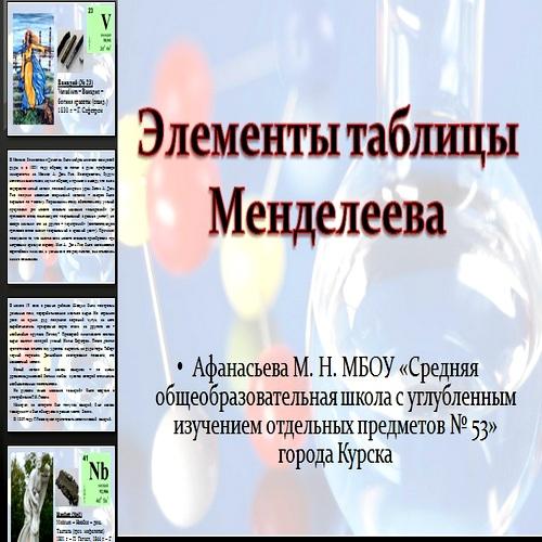 Презентация Элементы таблицы Менделеева